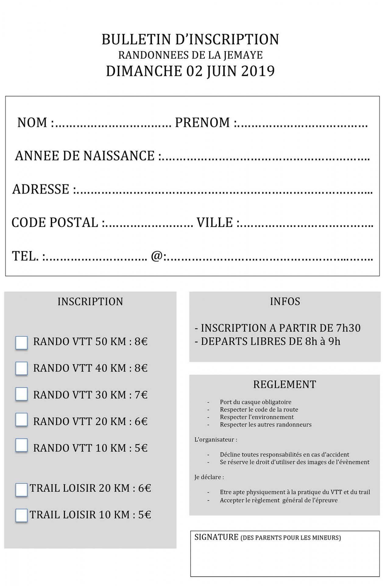 Bulletin d inscription