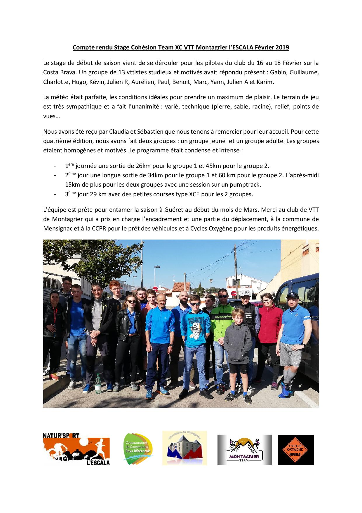 Compte rendu stage cohesion team xc mvtt 2019